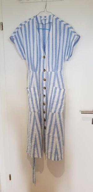 Mango Midi Dress white-azure linen