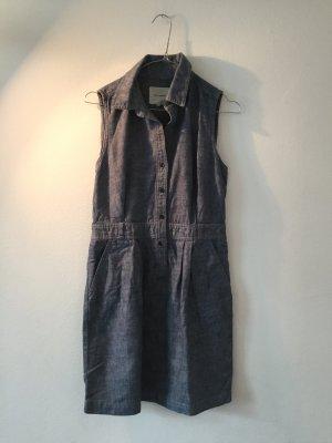 Denim Dress azure-steel blue linen