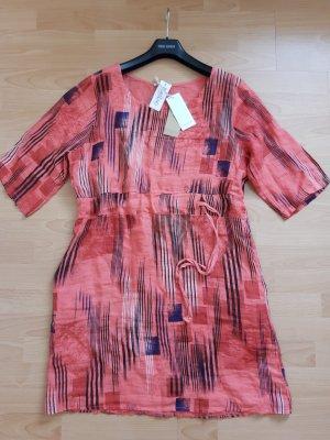 Midi-jurk baksteenrood Linnen