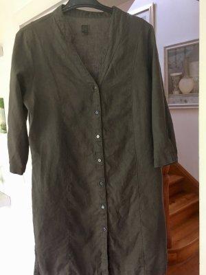 Robe à manches courtes gris foncé-vert forêt lin