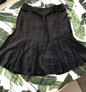 Leinenrock mit Gürtelband schwarz von Nadine H