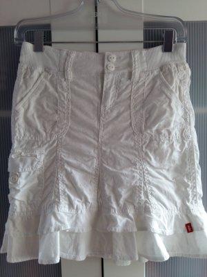 Leinenrock mit Stretchbund und kleinen Volants & Gesäßtaschen Gr. 32