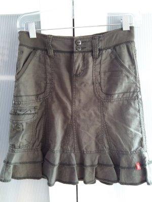 Esprit Flounce Skirt khaki-olive green linen