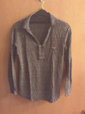 Leinenshirt, Größe L , schwarz weiß geringelt Massimo Dutti