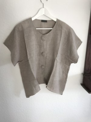 Hopsack Linen Blouse grey brown