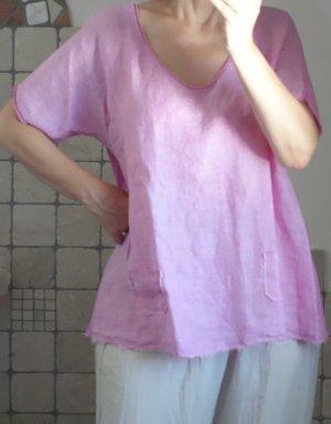 Blusa in lino rosa-rosa Lino