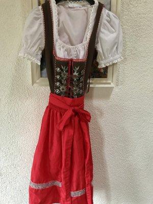 Lekra Vestido Dirndl marrón oscuro-rojo