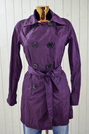 LEMPELIUS Damen Mantel Jacke Trenchcoat Polyamid Lila Ungefüttert Gr.M