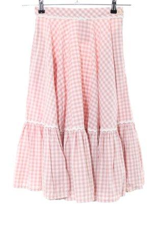 Lena Hoschek Jupe corolle blanc-rose motif à carreaux style décontracté
