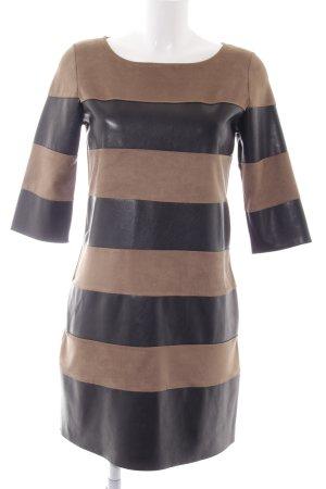 Lenny B. Paris Lederkleid schwarz-beige Ringelmuster Casual-Look