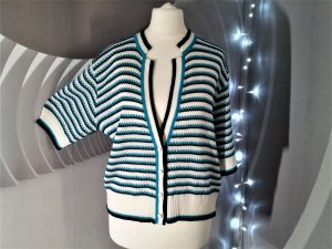 Short Sleeve Knitted Jacket white-blue