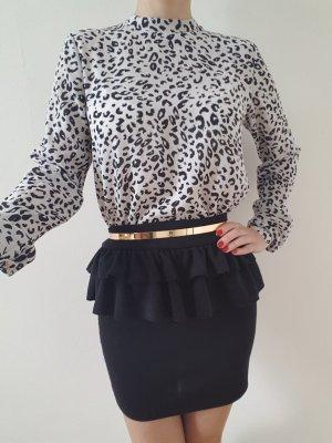 Leo Bluse XXS XS S 32 34 schwarz-weiß Oberteil Shirt Longshirt Tunika Top