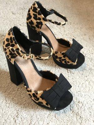 Leo Leopard Echtleder High Heels Gr 39 ASOS Blogger Vintage Style schwarz
