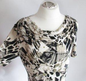 Leo Long Shirt Alessa W. Größe L 42 Beige Braun Weiß Schwarz Nieten Strass Stretch Schalkragen Wasserfall Oversize Tunika Jersey Muster Tshirt