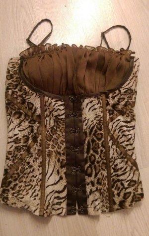 Leo-Zebra Top im Corsagenstil von Boohoo Gr. XS