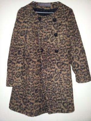 Leomantel von Zara in Braun Schwarz Mantel mit Animal-Print