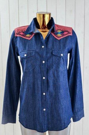 LEON&HARPER Damen Jeanshemd Hemd Bluse Denim Etnomuster Bestickt Blau Rot Gr.S