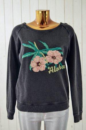 LEON&HARPER Damen Sweatshirt TULIP HARPER Schwarz Geblümt Baumwolle Gr.ca.36-38