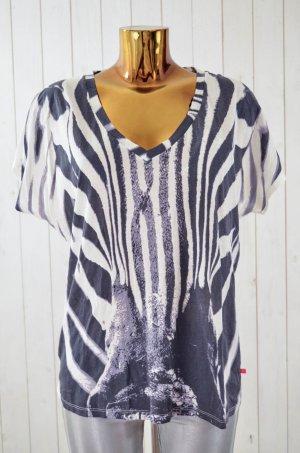 LEON&HARPER Damen T-Shirt Oversized Weiß Schwarz Animalprint Zebra Gr.M Neu!