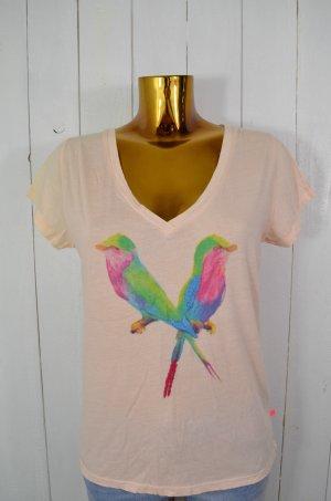 LEON&HARPER Damen T-Shirt Shirt V-Ausschnitt Apricot Bunt Print Vögel Gr.M