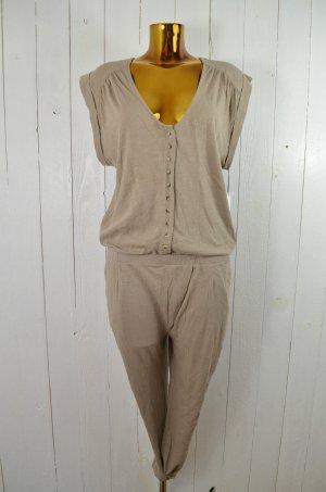 LEON&HARPER Jumpsuit Overall Jersey U-Ausschnitt Kurzarm Baumwolle Beige Gr.L