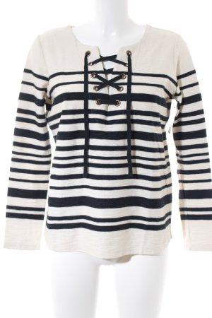 Leon & Harper V-Ausschnitt-Shirt weiß-dunkelblau Streifenmuster Casual-Look