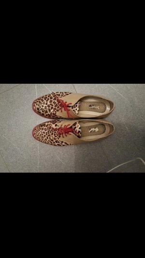 Leopard halbschuhe mit rote sohle