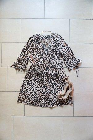 Leopard Wickelkleid mit Schleifen Animalprint