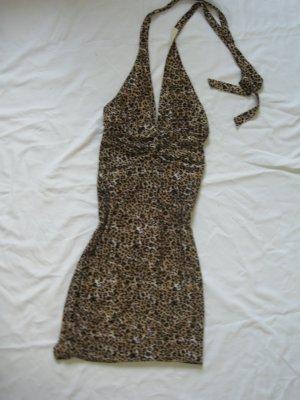 Leoparden Neckholder Kleid Cocktailkleid