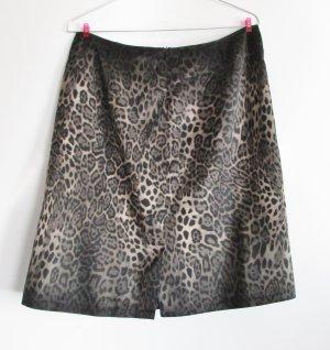Leoparden Print Rock Gerry Weber Größe 38 Satin Schwarz Grau Braun Beige A Linie Minirock Skirt Leo Druck Muster