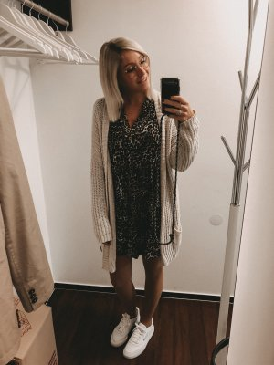 Zara Peplum jurk zwart-bruin