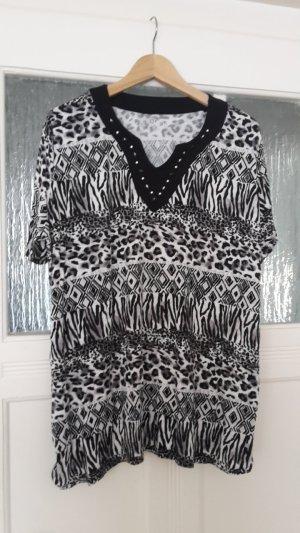 V-Neck Shirt black-white