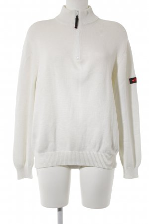 Les Copains Coarse Knitted Jacket natural white weave pattern athletic style