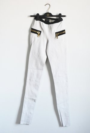 Les Eclaires Pantalone in pelle bianco-nero Pelle