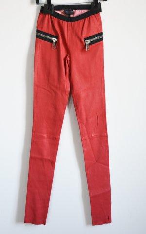 Les Eclaires Pantalone in pelle rosso chiaro Pelle