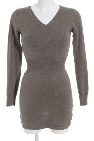 Les Filles de Paris V-Ausschnitt-Pullover hellbraun-graubraun schlichter Stil