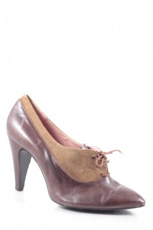 Les Lolitas Lace-up Pumps dark brown-beige vintage look