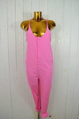 LES PRAIRIES DE PARIS Damen Jumpsuit Jersey Baumwolle Träger Knöpfe Pink Gr.36/2