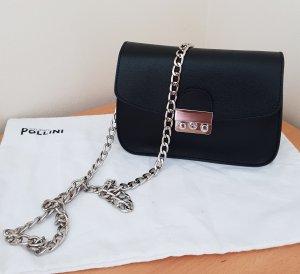 Letzer Preis Pollini Umhängetasche Chain Saffiano Leder schwarz Neu ohne Etikett