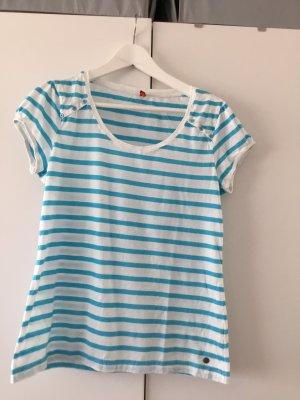 QS by s.Oliver Camisa de rayas azul neón-blanco