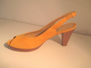 Letzte Preisreduktion#Spring is yellow#1,618#Peeptoe-Slingback-Pumps#Rauhleder