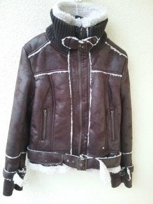 Mango Biker Jacket white-brown