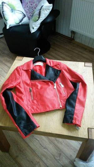 Voyelles Giacca in pelle rosso-nero