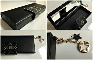 LETZTE STÜCK! Dior Clutch,Kosmetik Tasche oder Schmuck Box mit Spiegel + 2 Anhänger