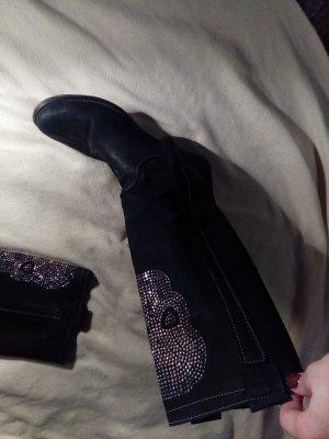 Letzter Preis 45 €!!! Schwarze Lederstiefel mit Glitzertotenkopf in Größe 40
