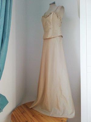 Letzter Preis! Abendkleid Corsagekleid gold Champagner Pailletten neu Gr. 38 S M Kleid lang Taft A-Linie Abschlussball