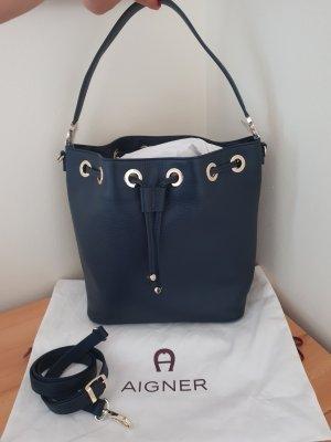 Letzter Preis Aigner Bucket Bag Beutel Sacktasche Roma dunkelblau Neu ohne Etikett