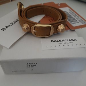 Balenciaga Leather Bracelet gold-colored-sand brown