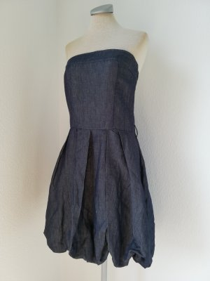 Letzter Preis! Bandeaukleid Jeanskleid trägerlos blau Leinen Baumwolle Gr. L 40 Rinascimento