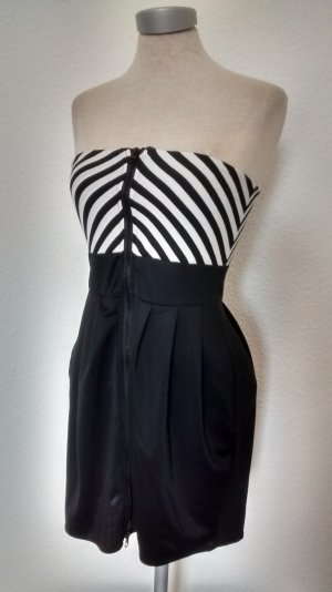 Letzter Preis!!! bandeaukleid schwarz weiß Gr. 34 XS Minikleid Kleid mini kurz trägerlos gothic